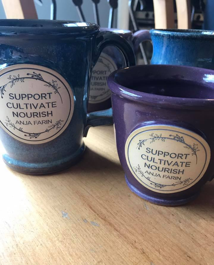 support, cultivate, nourish, anja farin llc, tea, mugs, herbs, midwife